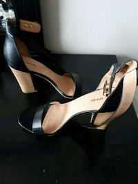 pair of black leather peep-toe ankle strap heels Toronto, M9P