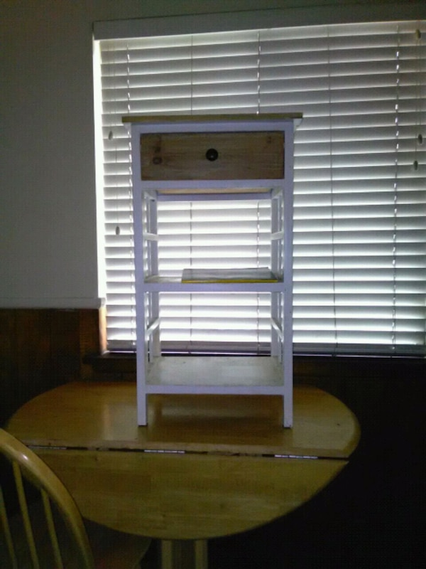 white and brown wooden side table