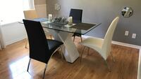 4 real leather dining chairs (no table)