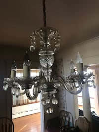 gray and clear glass up-light chandelier