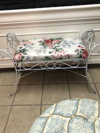white and red floral padded bench Ontario