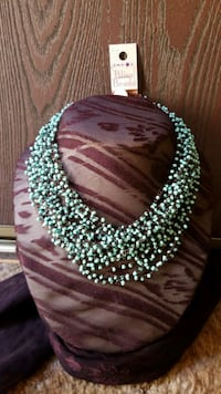 Turquoise & Brown Beaded Necklace Redding