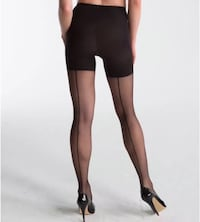 NEW SPANX Rockabilly Pinup Girl Black Back Seam Nylons (Size C) Paid $28 + Tax
