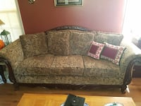 brown and gray floral 3-seat sofa