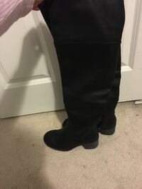 Women's black leather over-the-knee boots