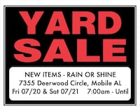 Multi-Family Huge Yard Sale - Rain or Shine Mobile, 36608