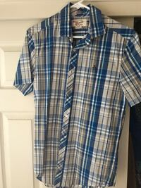 white, gray, and blue plaid button-up t-shirt Visalia, 93291
