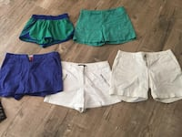 Five green and white denim shorts
