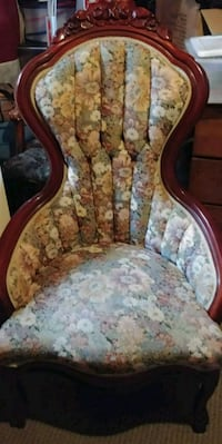 brown wooden frame white and pink floral padded armchair Maryland, 20706