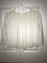 White Lace 3/4 Sleeve Flowy Top 3165 km