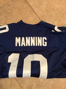 Blue and white Manning 10 jersey shirt