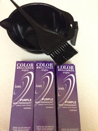 black hair color brush and bowl with boxes
