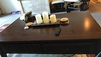 Rectangular brown wooden 2-drawers coffee table