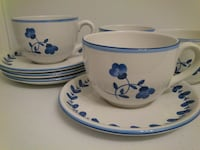 Blue and White Oversized Mug and Saucer  West Springfield