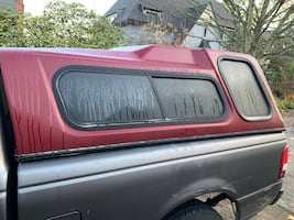 Red Camper shell fits smaller trucks