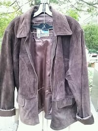 Brown suede leather zip-up jacket Takoma Park, 20912