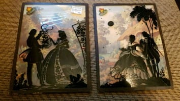 ANTIQUE Silhouette Bow Front Glass Pictures