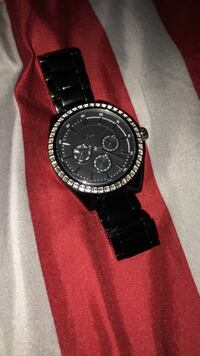 Black Fossil Watch With Diamonds