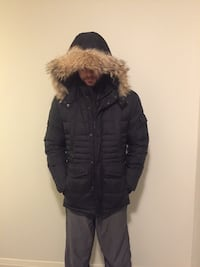 Black fur zip-up parka jacket Toronto, M5V 1M3