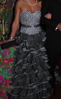 Full gray and white ball gown