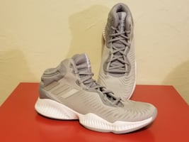 New Men's Adidas Mad Bounce Basketball Gray Grey Silver White Size 12 1/2