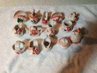 white and pink ceramic container miniature collect