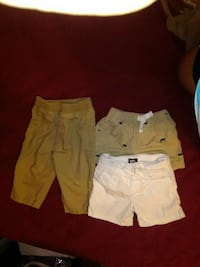 three brown and white shorts