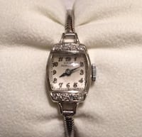 Rectangular silver frame analog watch with silver link Bee Cave, 78738