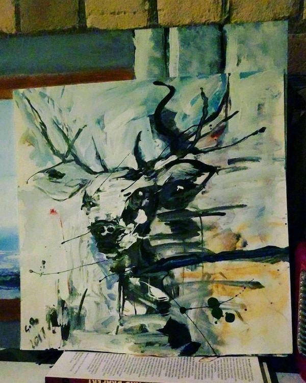 black, white, and blue abstract painting