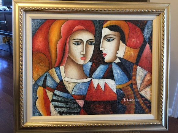 Original Hand Signed Abstract Picasso Style Oil Painting 2 Faces 20 X16