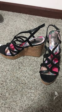 black-and-brown wedge ankle-strap sandals Cascade, 59421