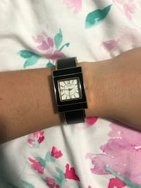 Square black analog watch with black strap  Guilford, 17202