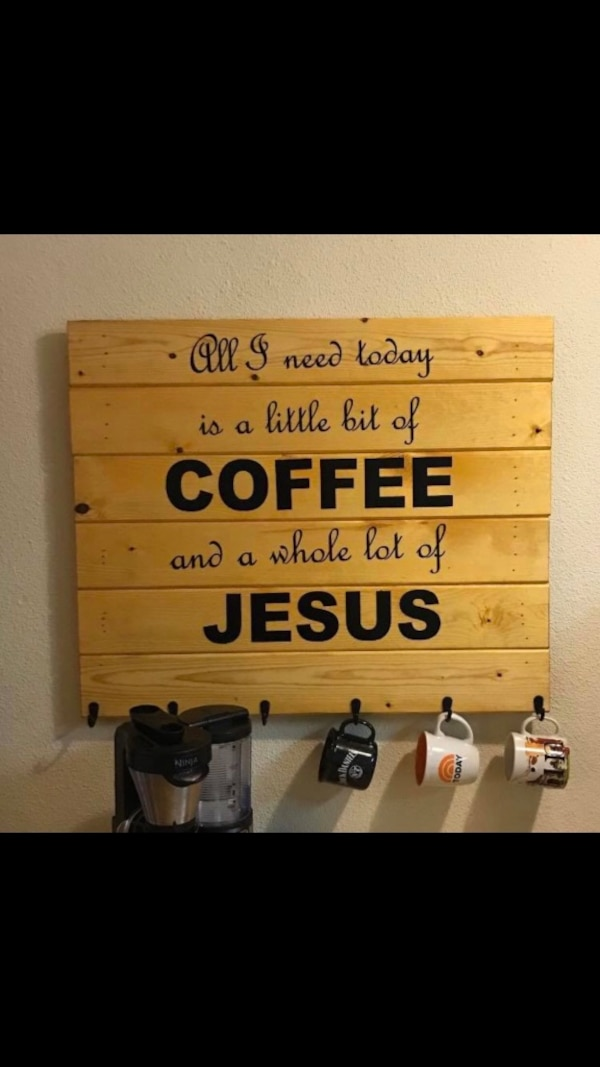 Used Coffee Bar Sign With Coffee Cup Hooks For Sale In