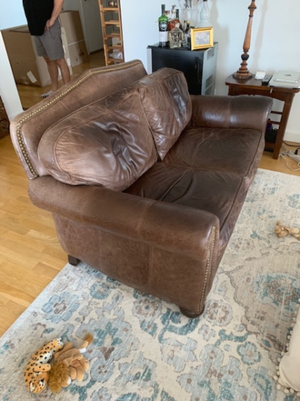 Used Ethan Allen Leather Sofa For In New York Letgo