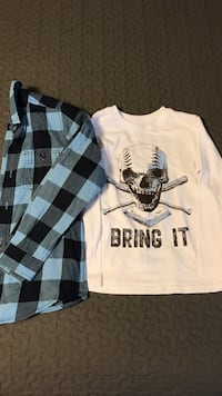 Boys size 6/7 long sleeve tee and plaid.