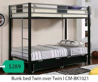 black wooden bunk bed with white mattress La Mirada