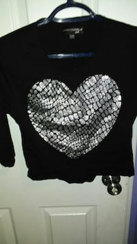 black and silver Heart printed long-sleeved blouse
