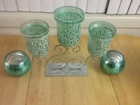 four green glass candle holders Temple Hills, 20748