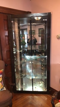 brown wooden framed glass display cabinet Middleboro, 02346