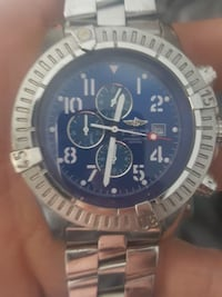 round silver and blue chronograph watch Langley, V2Z 2L4