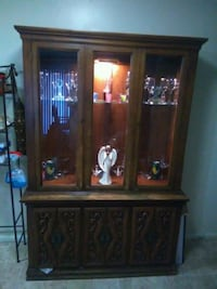 brown wooden framed glass display cabinet Canton