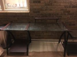 Glass top desk with side printer table