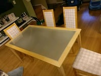 Frosted glass and wood table + 4 chairs Fairfax, 22033