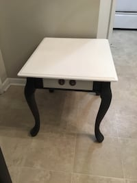 Stylish refurbished side table with drawer and protective glass top. Delivery available   St Catharines, L2P 3K9