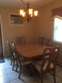 rectangular brown wooden table with six chairs dining set Calverton, 11933