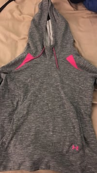 Women's under armour heather grey and pink pullover hoodie