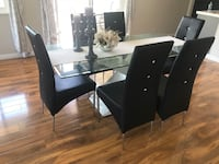 rectangular glass top table with six chairs dining set Los Angeles, 91343