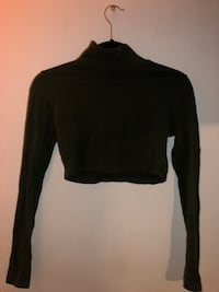 Olive green mock neck crop top large Bloomfield