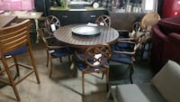 Cabana Coast firepit and table 6 chairs
