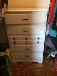 white wooden 5-drawer tallboy dresser Oshawa, L1J 1N2